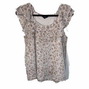 REITMANS WHITE AND PINK FLORAL PETITE TOP SIZE M